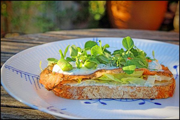 Gravad Laks med hvidløgsfriskost og salat